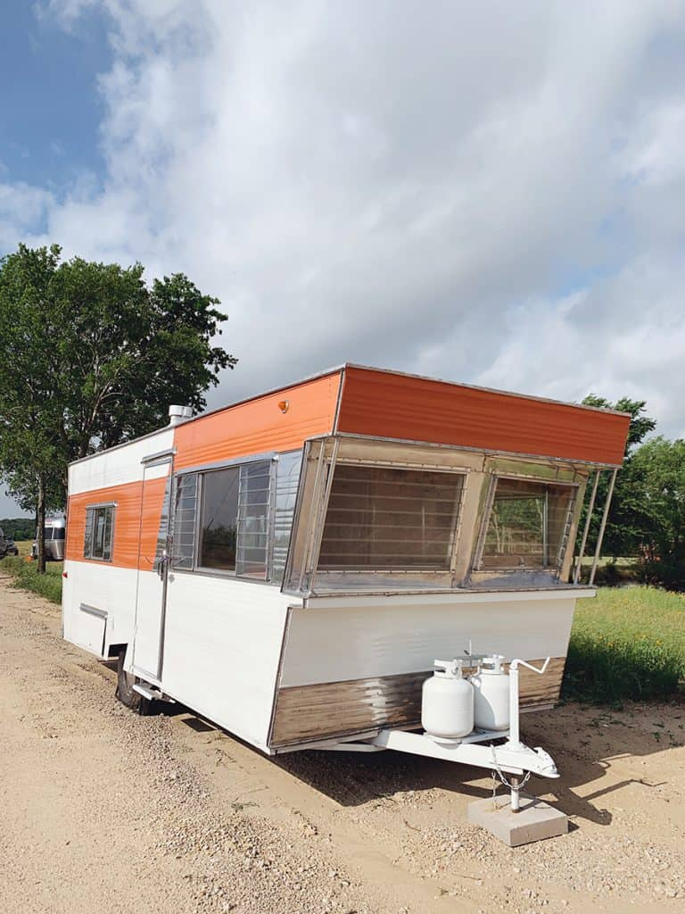 Exterior of a Vintage Trailer at The Range