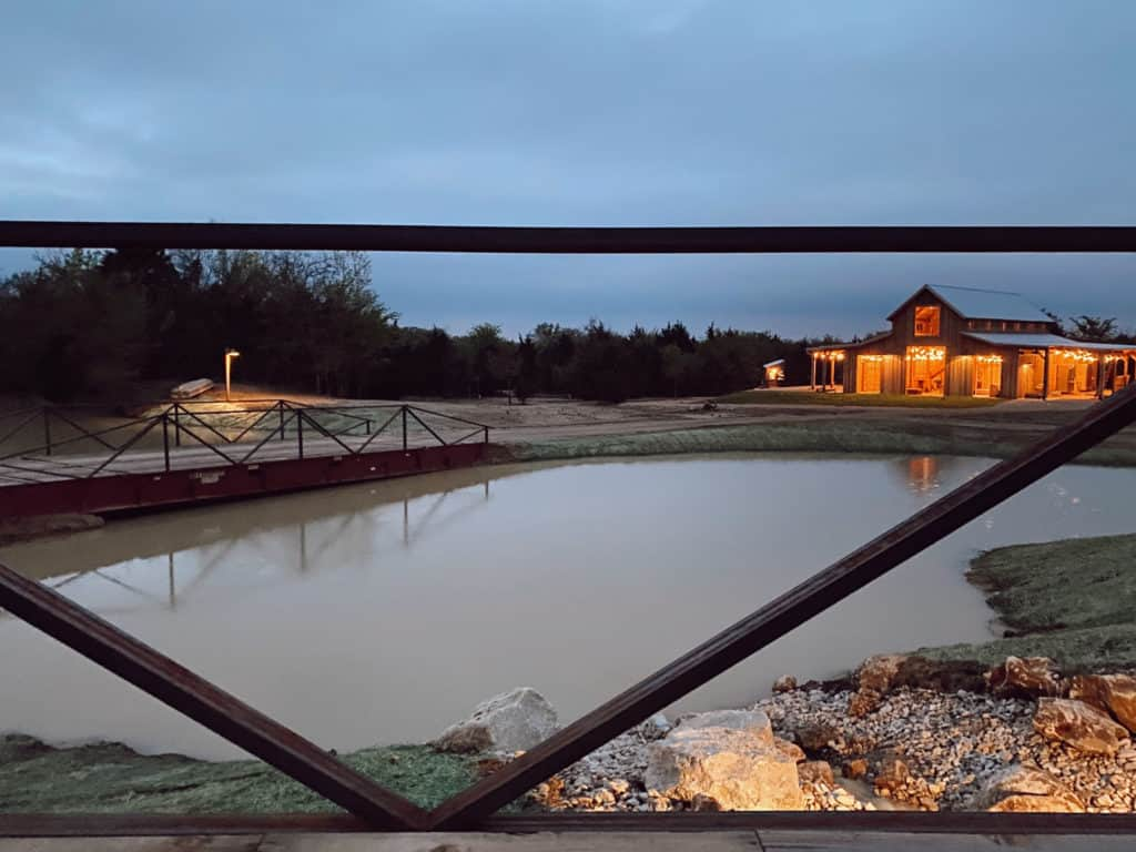 View of the barn and pond